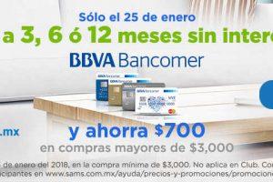 Sams Club: $700 de descuento con BBVA Bancomer 25 de Enero 2018