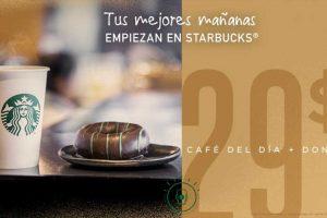Starbucks café del día más dona por sólo $29 pesos