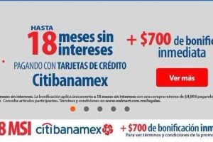 Walmart Cyber Martes Citibanamex $700 de descuento y 18 MSI