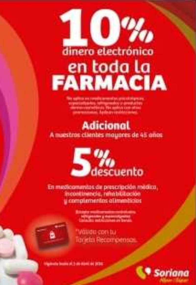 Soriana: 10% de bonificación en monedero electrónico en toda la farmacia