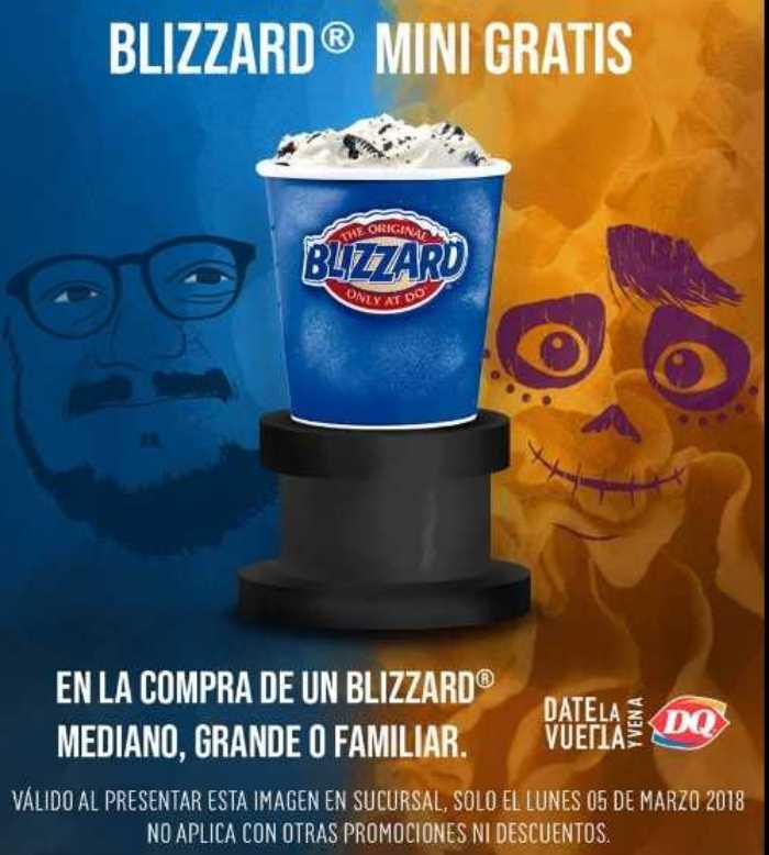 Promoción Dairy Queen Blizzard Mini Gratis al 5 de marzo 2018