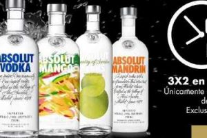 Bodegas Alianza Ofertas Flash 3x2 en Vodka Absolut al 16 de marzo