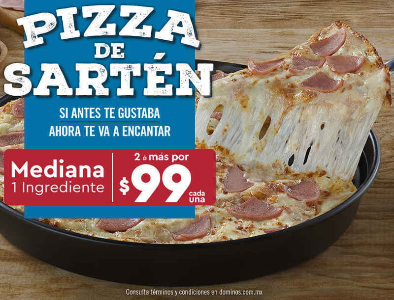 Dominos Pizza: Pizza de Sartén mediana a solo $99