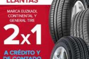 Famsa 2x1 en llantas Euzkadi, Continental y General Tire