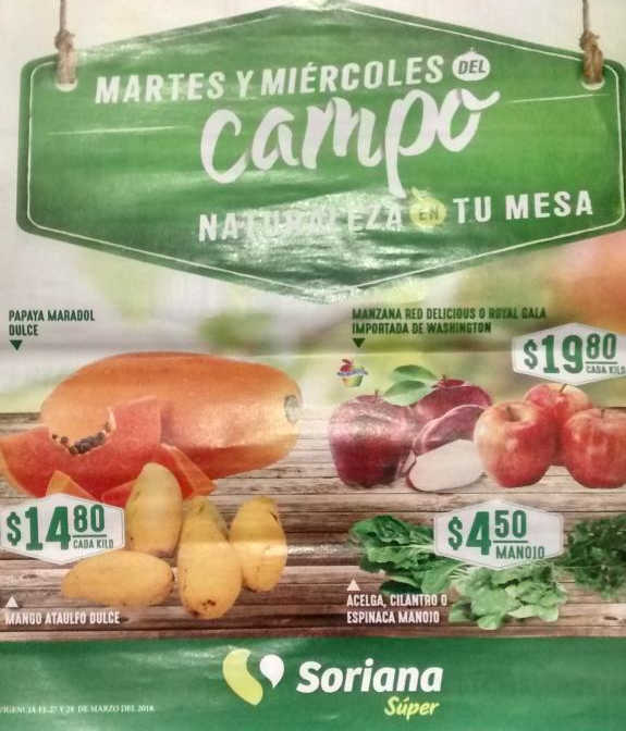 Frutas y Verduras Soriana 27 y 28 de Marzo de 2018