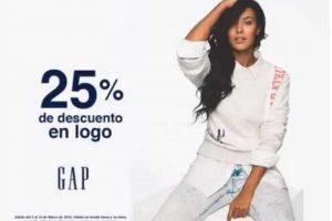 Gap 25% de descuento en prendas seleccionadas al 15 de marzo