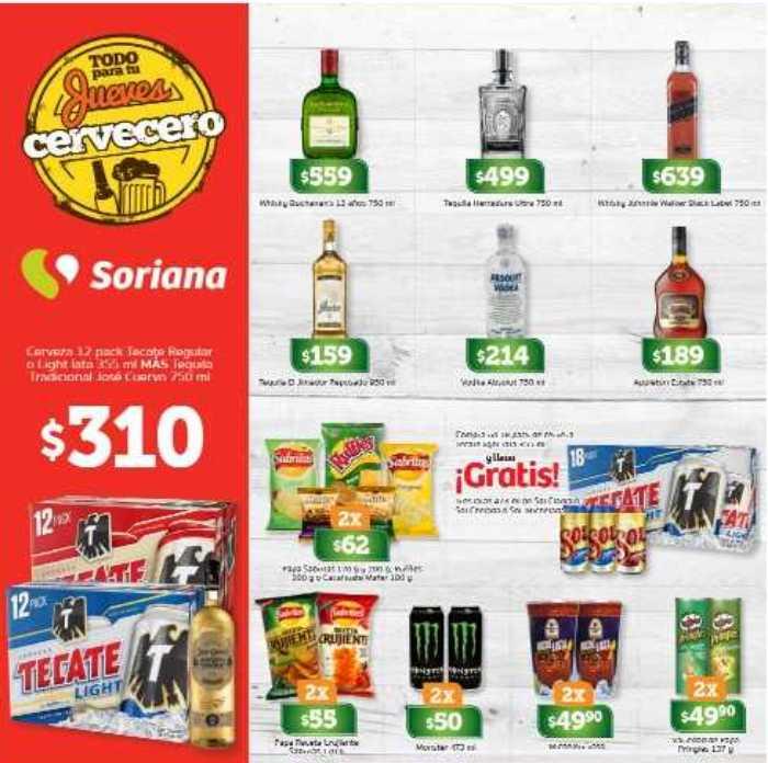 Ofertas jueves cervecero Soriana 22 de marzo 2018