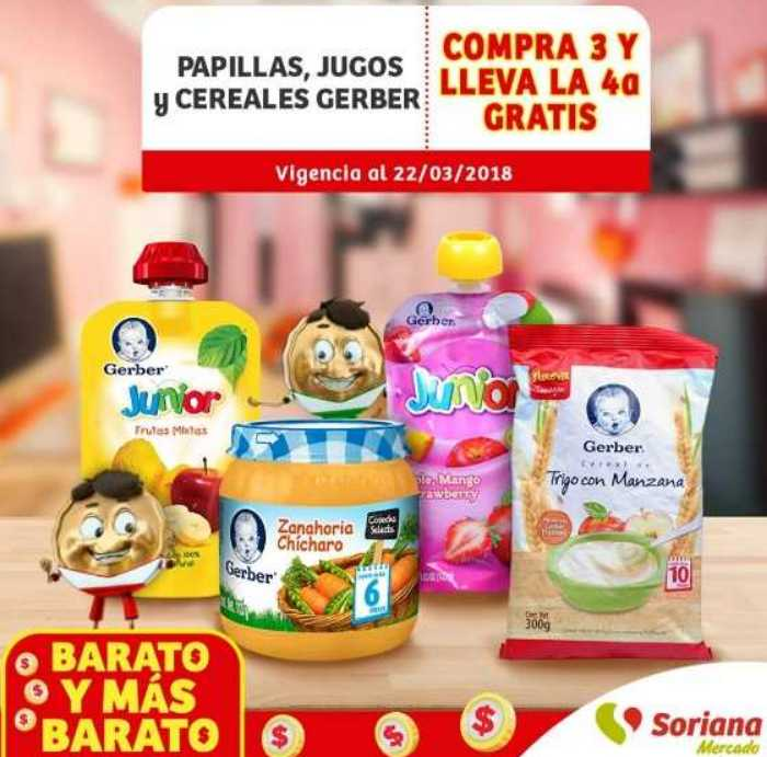 Soriana Mercado: 4×3 en papillas y cereales Gerber al 22 de marzo