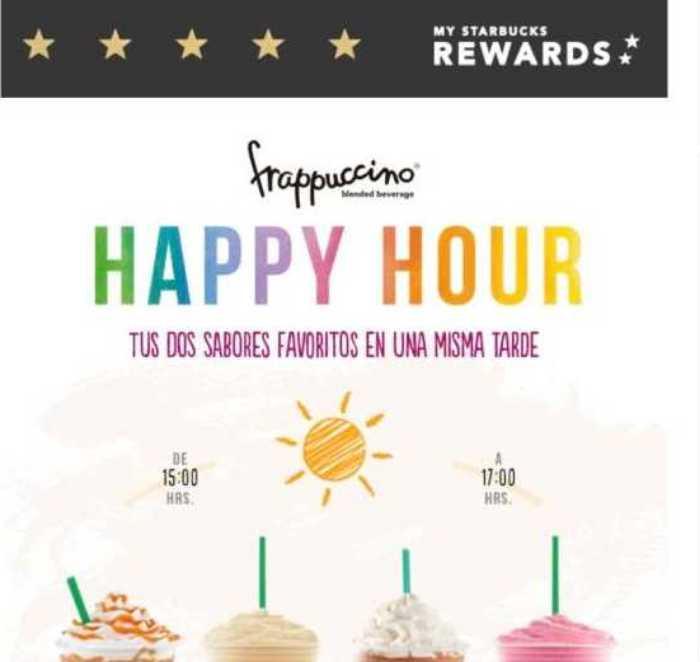 Happy Hour Starbucks: 2×1 frappuccinos del 26 de marzo al 1 de abril 2018