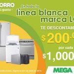 MEGA Soriana $200 de descuento por cada $1,000 de compra en línea blanca LG