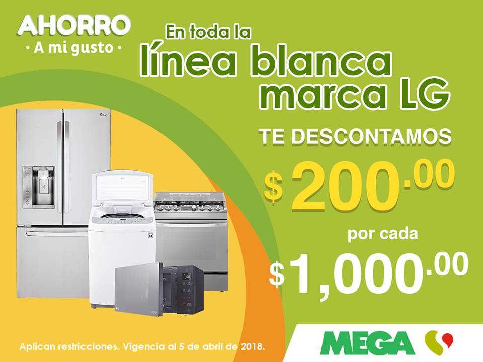 MEGA Soriana: $200 de descuento por cada $1,000 de compra en línea blanca LG