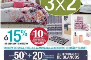 Quincena de Blancos Sears: 3x2 en ropa de cama, toallas, almohadas y más