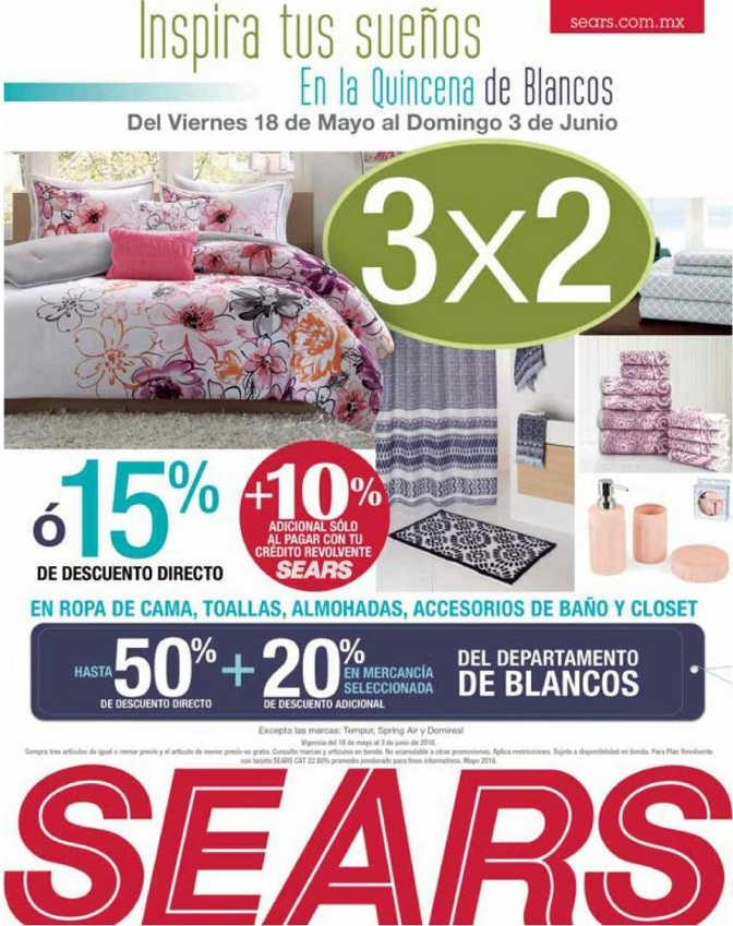 Quincena de Blancos Sears: 3×2 en ropa de cama, toallas, almohadas y más