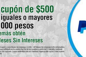 Chedraui: $500 de bonificaición con PayPal en compra mínima de $2,000