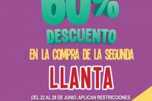Julio Regalado 2018 en Soriana: 60% de descuento en segunda llanta