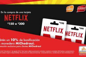 Chedraui 10% de bonificación en monedero MiChedraui tarjetas Netflix