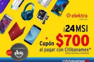 Elektra: Cupón de $700 pesos + 24 MSI con tarjetas CitiBanamex