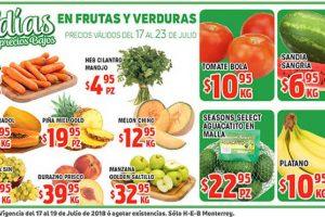 Frutas y Verduras HEB del 17 al 23 de julio 2018