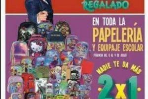 ulio Regalado 2018 Oferta 2×1 en papelería y mochilas al 9 de julio