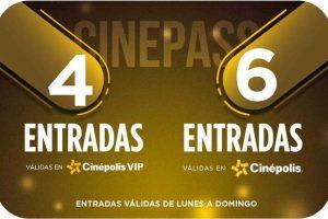 Sams Club: Tarjeta Cinepass Cinépolis 4 entradas VIP + 6 Tradicionales $699