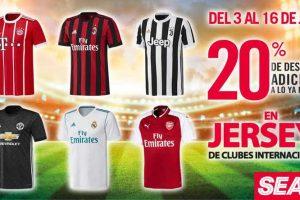 Sears: 20% de descuento adicional en jerseys de clubes internacionales