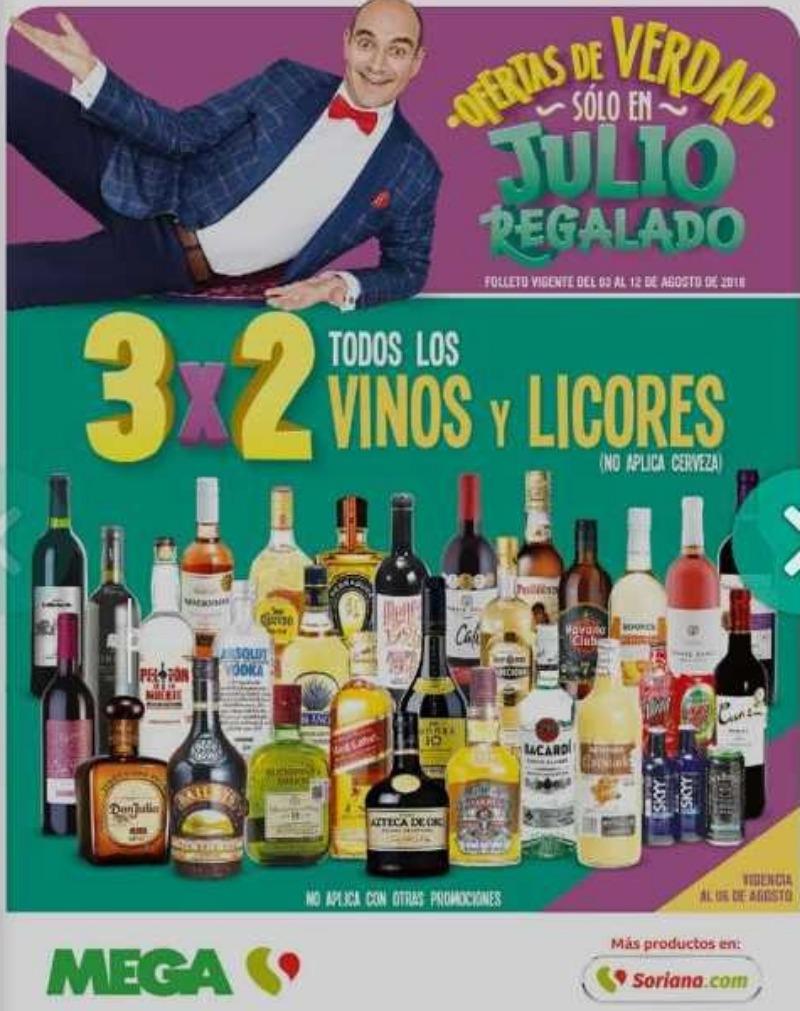 Julio Regalado: Catalogo de Ofertas 3×2 en vinos y licores del 3 al 12 de agosto 2018
