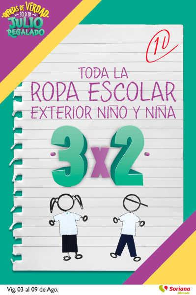 Soriana Julio Regalado 2018: 3×2 en ropa escolar y uniformes