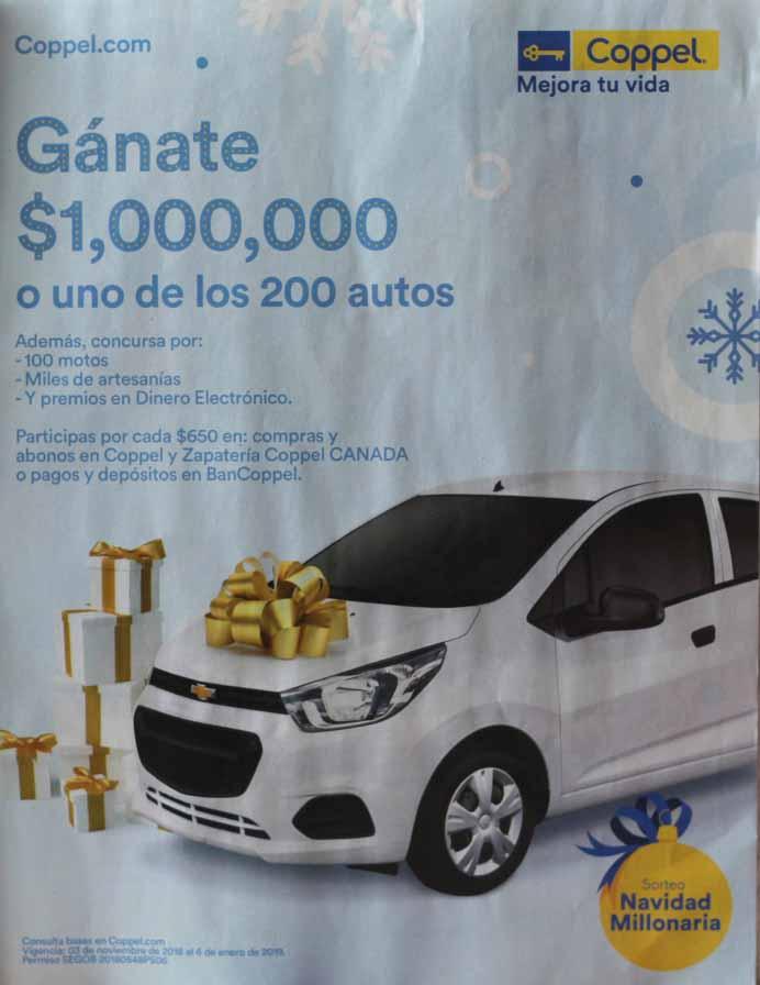 Sorteo Navidad Millonaria Coppel 2018: Gana 1 Millón de pesos y Autos