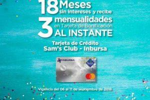 Sam's Club: 18 MSI + 3 meses de bonificación con tarjetas Sams Club e Inbursa