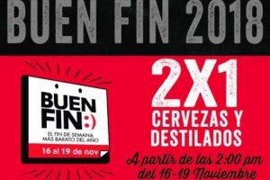 Ofertas TGI Fridays El Buen Fin 2018 2x1 en cervezas