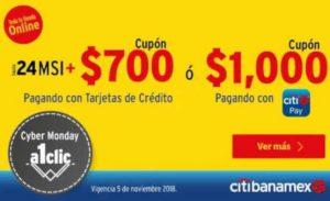 Buen Fin 2018 Elektra: Cupón de $700 ó $1000 con Citibanamex Pay