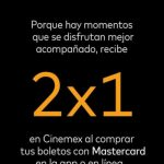 Cinemex: 2x1 en sala tradicional de lunes a domingo con Mastercard