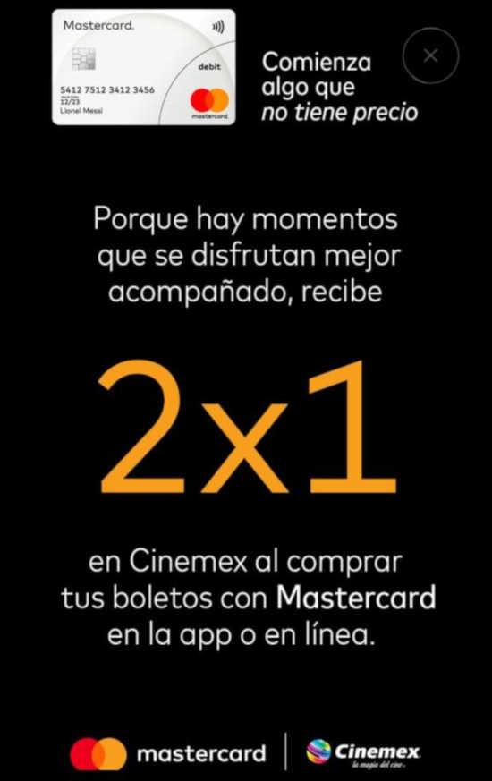 Cinemex: 2×1 en sala tradicional de lunes a domingo con Mastercard