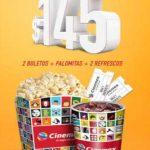 Cinemex: Combo lunes 2 boletos, palomitas y 2 refrescos grandes $145