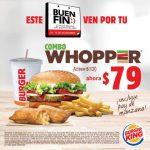 Promoción El Buen Fin 2018 Burger King: Combo Whopper + Pay manzana por $79