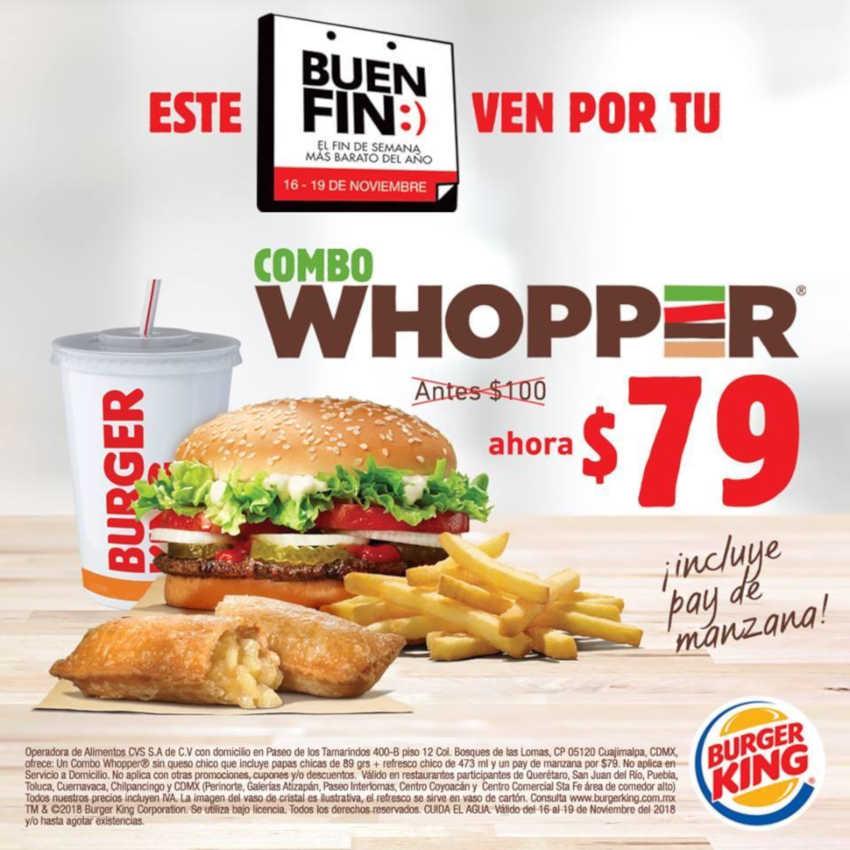 El Buen Fin 2018 Burger King: Combo Whopper + Pay manzana por $79
