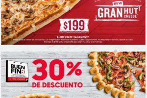 Promoción El Buen Fin 2018 Pizza Hut: Cupón 30% de descuento en pizza Grande