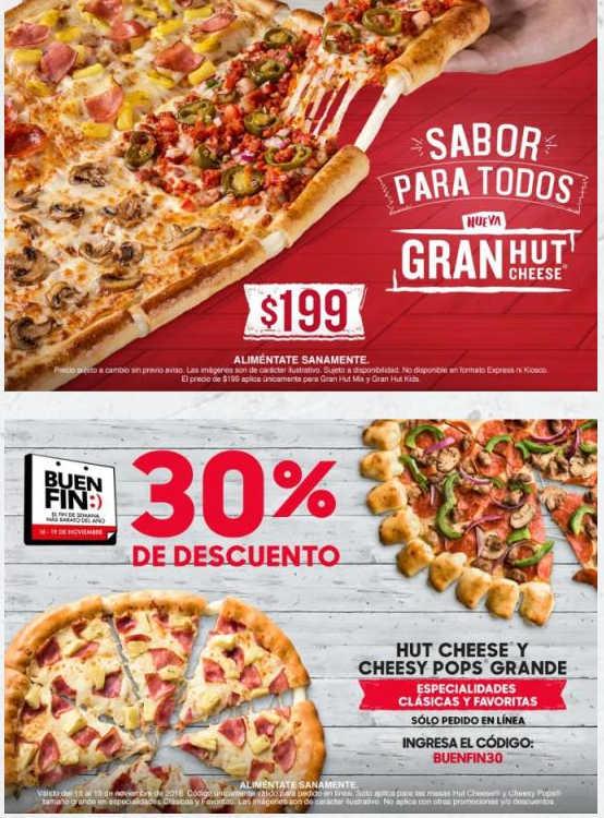 El Buen Fin 2018 Pizza Hut: Cupón 30% de descuento en pizza Grande