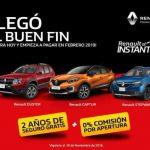 El Buen Fin 2018 Renault: 2 años de seguro GRATIS + 0% de comisión