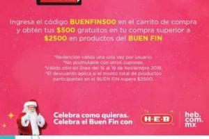 HEB El Buen Fin 2018: $500 de descuento en compras de $2,500