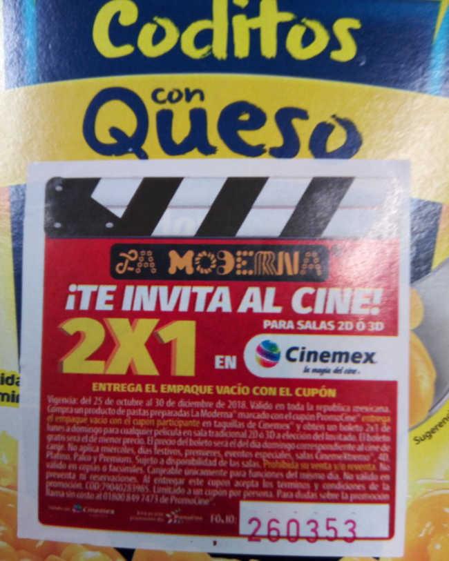 Promoción Cinemex Cupón 2×1 de lunes a domingo con La Moderna