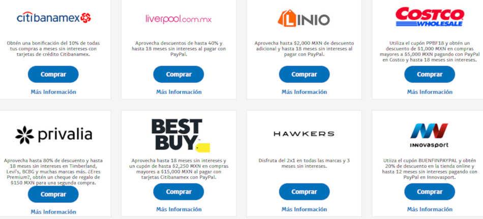 Promociones PayPal El Buen Fin 2018  Descuentos en tiendas 9356f808de092