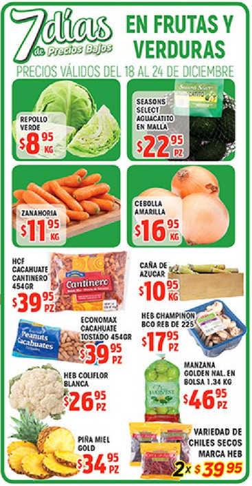 HEB: frutas y verduras del 18 al 24 de diciembre de 2018