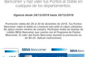 Puntos Bancomer Liverpool diciembre 2018