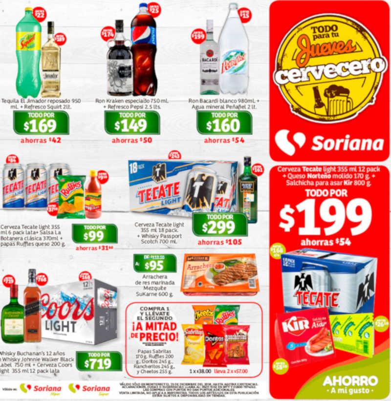 Ofertas Soriana Jueves Cervecero 13 de diciembre 2018