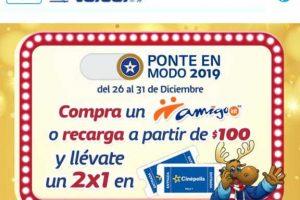 Promoción Telcel Amigo Kit Cupón 2×1 en Cinépolis con recargas de $100