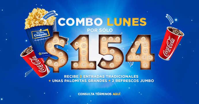 Cinépolis: Combo Lunes 2 entradas + palomitas grandes + 2 refrescos jumbo por $154