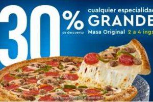 Dominos Pizza 30% de descuento en pizzas grandes de 2 a 4 ingredientes