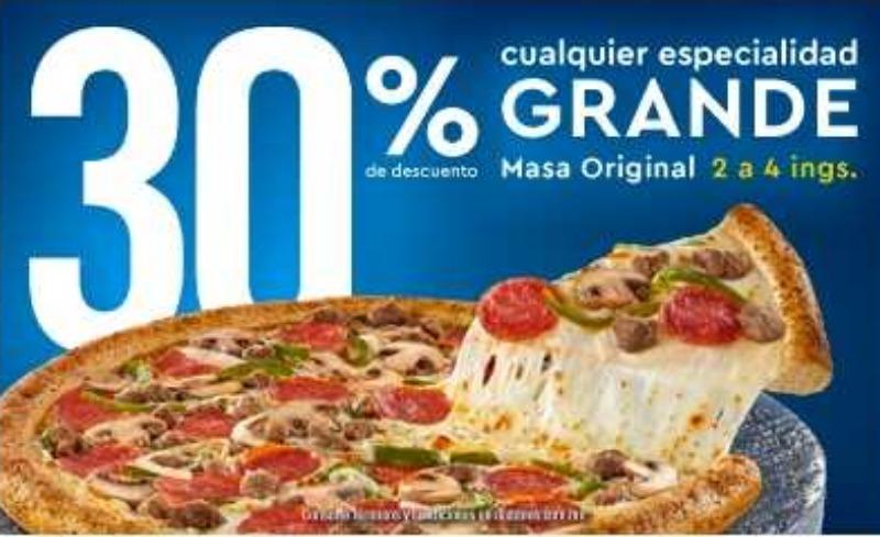 Dominos Pizza: 30% de descuento en pizzas grandes de 2 a 4 ingredientes