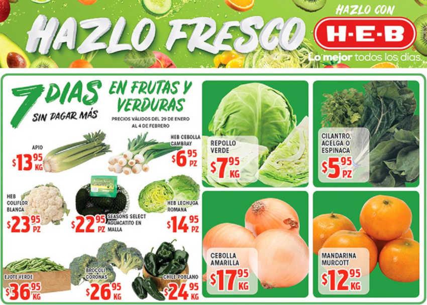 Frutas y Verduras HEB del 29 de enero al 4 de febrero de 2019